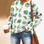 Tropical Leaves - Gardening Unisex All Over Print Cotton Sweatshirt KH250208