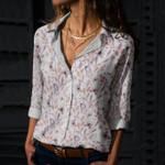 Butterflies And Flower Cotton And Linen Casual Shirt KH260206
