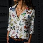 Butterflies - Insect Cotton And Linen Casual Shirt KH260207