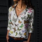 Butterflies - Insect Cotton And Linen Casual Shirt KH260208