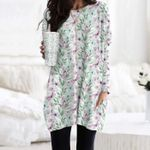 Butterflies And Flower Pocket Long Top Women Blouse KH260204