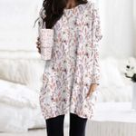 Butterflies And Flower Pocket Long Top Women Blouse KH260206