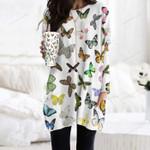 Butterflies - Insect Pocket Long Top Women Blouse KH260208