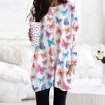 Butterflies - Insect Pocket Long Top Women Blouse KH260212