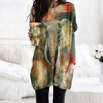Elephant Pocket Long Top Women Blouse CH230204