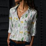 Wild Flowers Cotton And Linen Casual Shirt QA01032102