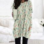 Rain Boots Pocket Long Top Women Blouse KH01032108