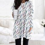 Watercolor Feathers Pocket Long Top Women Blouse KH01032116