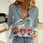 Holy Family Hearts Cotton And Linen Casual Shirt QA02032109