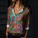Mexican Folk Art Cotton And Linen Casual Shirt QA03032102