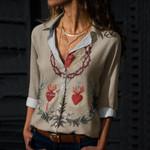Holy Family Hearts Cotton And Linen Casual Shirt QA03032103