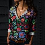 Otomi Birds Art Cotton And Linen Casual Shirt QA03032105
