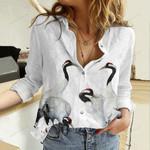 Couples Of Crane Birds Cotton And Linen Casual Shirt QA03032110
