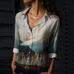 Metallic Crane Bird Cotton And Linen Casual Shirt QA03032112
