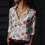 Sacred Hearts Cotton And Linen Casual Shirt QA05032103