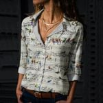 Vintage Parrot Song Cotton And Linen Casual Shirt QA05032104