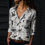 Sea Birds Cotton And Linen Casual Shirt QA05032105