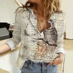 Vintage Owl Cotton And Linen Casual Shirt QA05032106