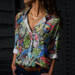 Tropical Parrots Cotton And Linen Casual Shirt QA05032110