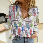 Tropical Parrots Cotton And Linen Casual Shirt QA05032111