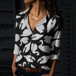 White Swans On Black Cotton And Linen Casual Shirt QA05032112
