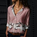 Herons On Pink Cotton And Linen Casual Shirt QA08032101