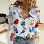 Colorful Birds Cotton And Linen Casual Shirt QA08032103