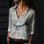 Sky Whale Cotton And Linen Casual Shirt QA08032109