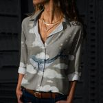 Sky Whale Cotton And Linen Casual Shirt QA08032110