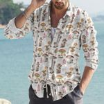 Mushroom Cotton And Linen Casual Shirt KH08032119