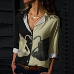 Swan Couple Cotton And Linen Casual Shirt QA08032113