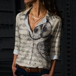Vintage Owl Song Cotton And Linen Casual Shirt QA08032115