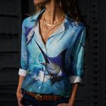 Blue Marlin Cotton And Linen Casual Shirt QA09032102