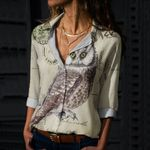 Vintage Owl Cotton And Linen Casual Shirt QA09032104