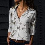 Swallow Birds Cotton And Linen Casual Shirt QA09032105