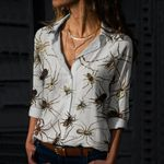 Vintage Spiders Cotton And Linen Casual Shirt QA09032107
