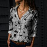 Spiders On Web Cotton And Linen Casual Shirt QA09032108