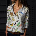 A-Z Birds Cotton And Linen Casual Shirt KH10032106