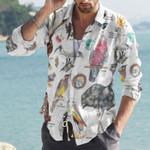 Australian Birds Cotton And Linen Casual Shirt KH10032107