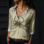 Spider Web Cotton And Linen Casual Shirt QA10032105