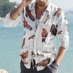 African Raptors Cotton And Linen Casual Shirt KH10032113