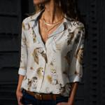 Owl Sketch Cotton And Linen Casual Shirt QA11032106