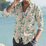 Flamingo And Flowers Cotton And Linen Casual Shirt KH11032114