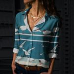 Sea Birds Cotton And Linen Casual Shirt QA12032110