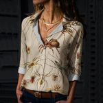 Vintage Spiders Cotton And Linen Casual Shirt QA12032111