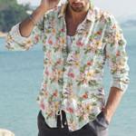 Flamingos Flower Cotton And Linen Casual Shirt KH12032116