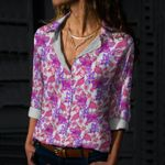 Hibiscus Flowers And Flamingos Cotton And Linen Casual Shirt KH12032123