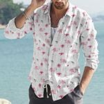 Hibiscus Flowers And Flamingos Cotton And Linen Casual Shirt KH12032126