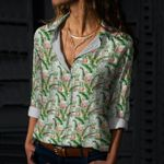 Flamingos And Leaf Cotton And Linen Casual Shirt KH12032128