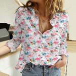 Watercolor Flamingos Cotton And Linen Casual Shirt KH15032103